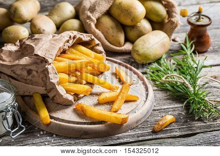 Fresh Homemade Fries With Salt Served In Paper