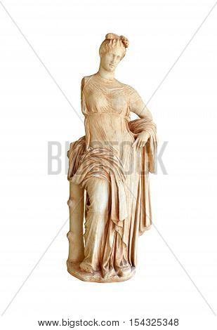Greek Statue of Aphrodite the goddess of love isolated over white