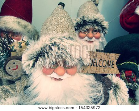 father Christmas decorations with a welcome sign