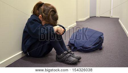 Sad Young School Girl
