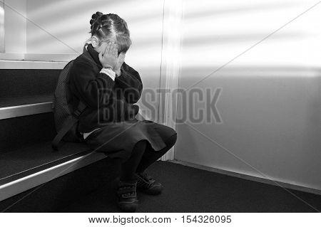 Upset School Girl Crying