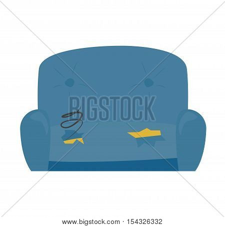 Old sofa leather cushion lack on white background. Antique vintage design retro old sofa. Modern texture isolated elegance comfortable old sofa home room chair decoration vector.