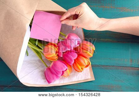 Tulip Flowes Bouqet With Blanked Card