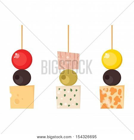 Set kinds of festive snacks canapes prepared isolated sandwich meat dish. Fresh banquet canape snacks meal gourmet bread party delicious vector. Tasty restaurant catering starter lunch canape snacks.