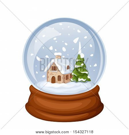 Vector glass Christmas snow globe with house and fir-tree isolated on white.