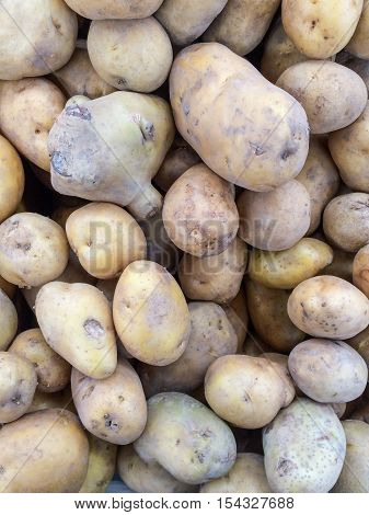 Background of fresh potato in the market