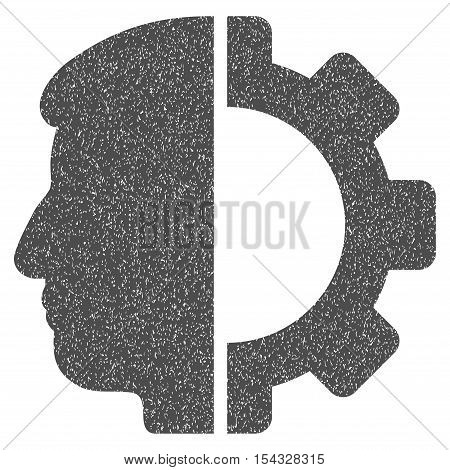 Android Head grainy textured icon for overlay watermark stamps. Flat symbol with scratched texture. Dotted vector gray ink rubber seal stamp with grunge design on a white background.