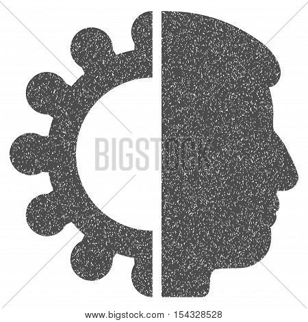 Android Head grainy textured icon for overlay watermark stamps. Flat symbol with dust texture. Dotted vector gray ink rubber seal stamp with grunge design on a white background.