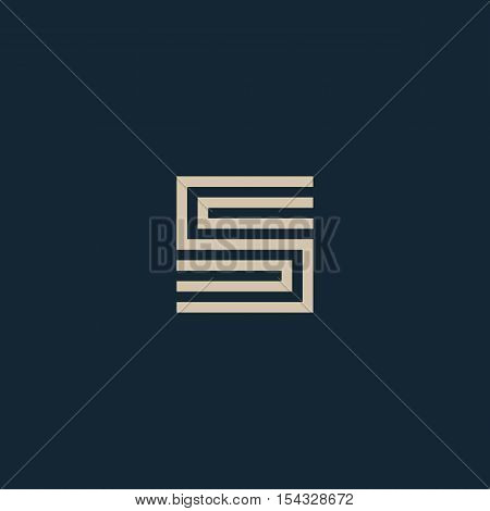Unusual geometric letter S. Architecture vector logo. Isolated monogram
