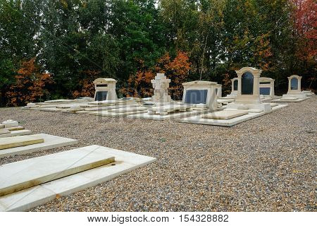 New graves at the cemetery memorial gardens