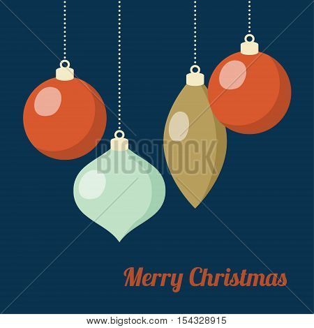 Retro Christmas greeting card invitation. Hanging Christmas balls baubles ornaments. Flat design. Vector illustration background.