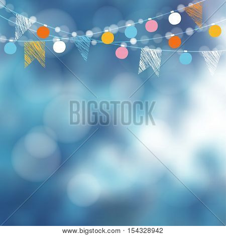 Christmas card invitation. Winter birthday garden party decoration. Vector illustration with garland of lights party flags and blurred background.