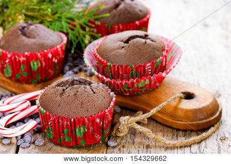 Christmas cupcakes with decoration. Festive sweet treats Christmas dessert idea