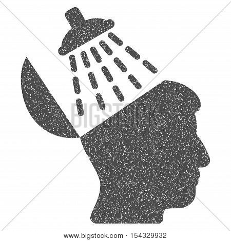 Brain Washing grainy textured icon for overlay watermark stamps. Flat symbol with dust texture. Dotted vector gray ink rubber seal stamp with grunge design on a white background.
