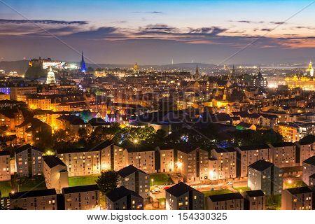 View of Edinburgh city, Scotland, United Kingdom. Sunset.