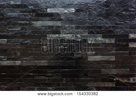 Background of modern black marble stone wall texture