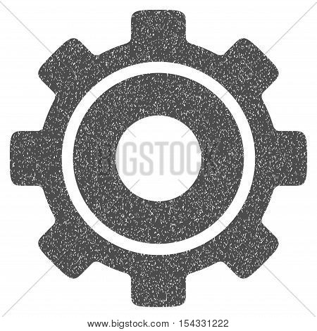 Cog grainy textured icon for overlay watermark stamps. Flat symbol with scratched texture. Dotted vector gray ink rubber seal stamp with grunge design on a white background.