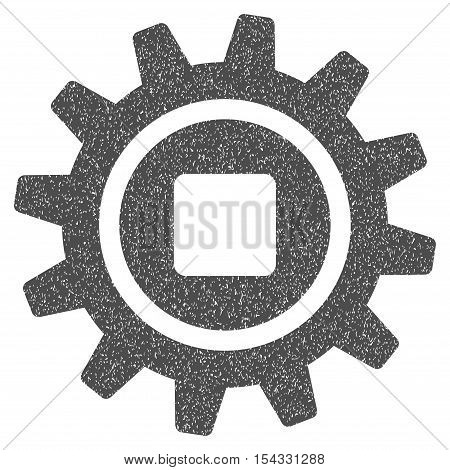 Cog grainy textured icon for overlay watermark stamps. Flat symbol with dust texture. Dotted vector gray ink rubber seal stamp with grunge design on a white background.