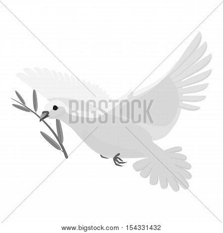 Dove icon. Gray monochrome illustration of dove vector icon for web