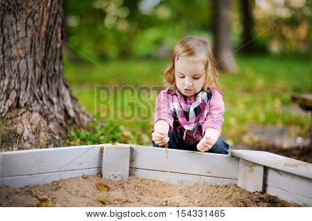 Adorable Girl Playing In A Sandbox