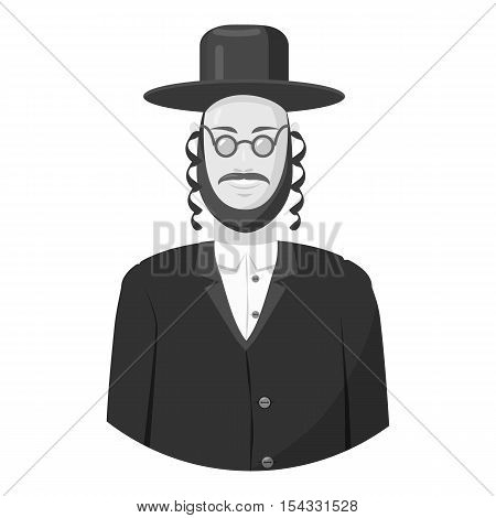 Jew man icon. Gray monochrome illustration of jew man vector icon for web