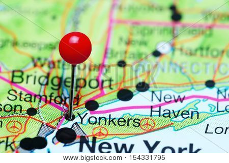 Yonkers pinned on a map of USA