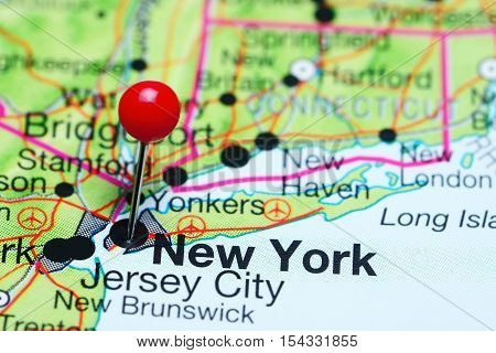 New York pinned on a map of USA