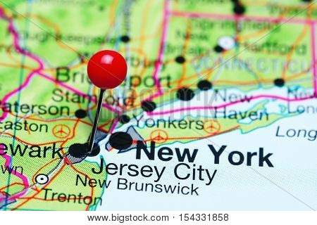 Jersey City pinned on a map of New Jersey, USA