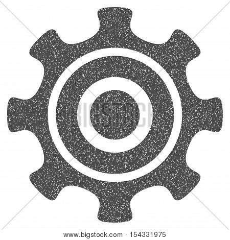 Cogwheel grainy textured icon for overlay watermark stamps. Flat symbol with scratched texture. Dotted vector gray ink rubber seal stamp with grunge design on a white background.