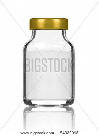 medical bottle with preparation on white background