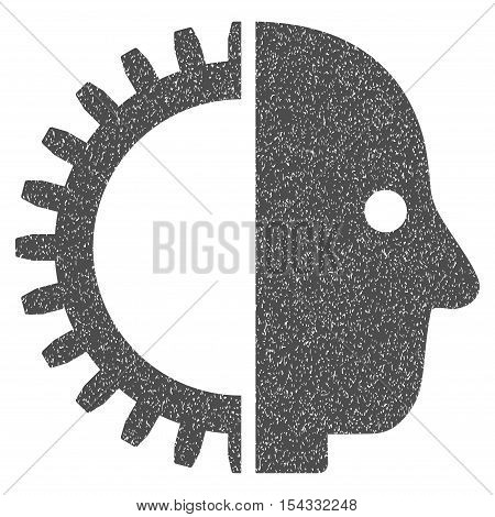 Cyborg Head grainy textured icon for overlay watermark stamps. Flat symbol with dirty texture. Dotted vector gray ink rubber seal stamp with grunge design on a white background.