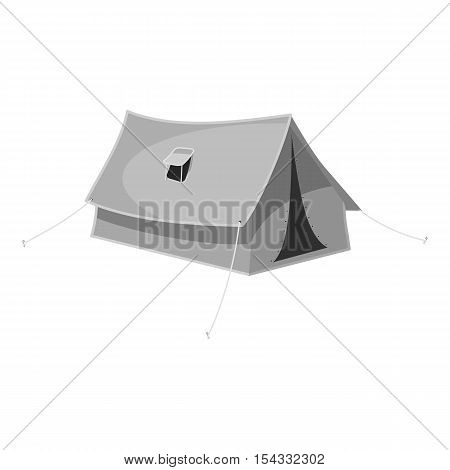 Tent icon. Gray monochrome illustration of tent vector icon for web