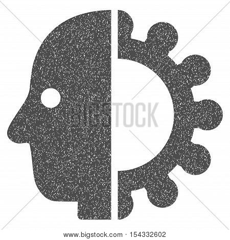 Cyborg Head grainy textured icon for overlay watermark stamps. Flat symbol with scratched texture. Dotted vector gray ink rubber seal stamp with grunge design on a white background.