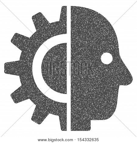 Cyborg Head grainy textured icon for overlay watermark stamps. Flat symbol with unclean texture. Dotted vector gray ink rubber seal stamp with grunge design on a white background.