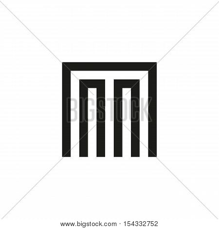 Unusual geometric letter M. Architecture vector logo. Isolated monogram
