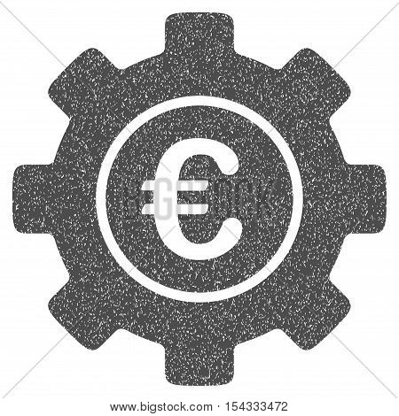 Euro Development Gear grainy textured icon for overlay watermark stamps. Flat symbol with scratched texture. Dotted vector gray ink rubber seal stamp with grunge design on a white background.
