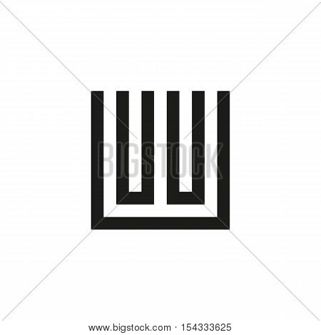 Unusual geometric letter W. Architecture vector logo. Isolated monogram