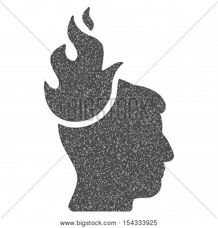 Fired Head grainy textured icon for overlay watermark stamps. Flat symbol with dust texture. Dotted vector gray ink rubber seal stamp with grunge design on a white background.