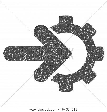 Gear Integration grainy textured icon for overlay watermark stamps. Flat symbol with unclean texture. Dotted vector gray ink rubber seal stamp with grunge design on a white background.