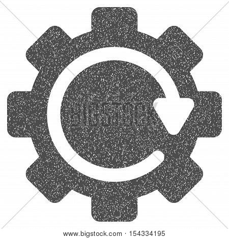 Gear Rotation Direction grainy textured icon for overlay watermark stamps. Flat symbol with scratched texture. Dotted vector gray ink rubber seal stamp with grunge design on a white background.