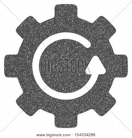 Gear Rotation grainy textured icon for overlay watermark stamps. Flat symbol with unclean texture. Dotted vector gray ink rubber seal stamp with grunge design on a white background.