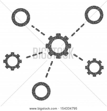 Gears Relations grainy textured icon for overlay watermark stamps. Flat symbol with dirty texture. Dotted vector gray ink rubber seal stamp with grunge design on a white background.