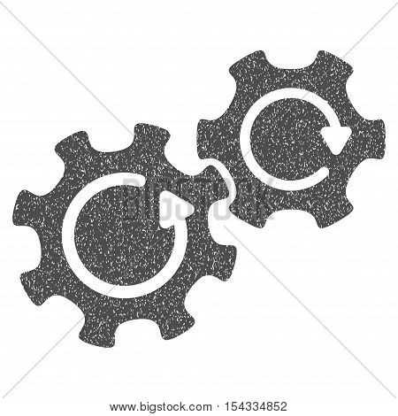 Gears Rotation grainy textured icon for overlay watermark stamps. Flat symbol with scratched texture. Dotted vector gray ink rubber seal stamp with grunge design on a white background.