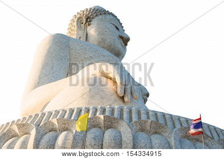 Perspective view from below of the popular Big Buddha on Nakkerd hills of Ao Chalong in Phuket, Thailand. Symbol of peace and spirituality. Isolated on white background.