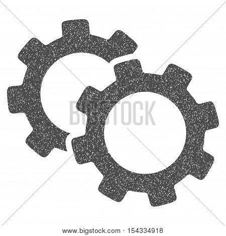Gears grainy textured icon for overlay watermark stamps. Flat symbol with dust texture. Dotted vector gray ink rubber seal stamp with grunge design on a white background.