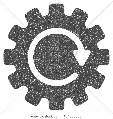 Gearwheel Rotation grainy textured icon for overlay watermark stamps. Flat symbol with dirty texture. Dotted vector gray ink rubber seal stamp with grunge design on a white background.