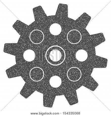 Gearwheel grainy textured icon for overlay watermark stamps. Flat symbol with unclean texture. Dotted vector gray ink rubber seal stamp with grunge design on a white background.