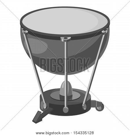 Percussion drum icon. Gray monochrome illustration of percussion drum vector icon for web