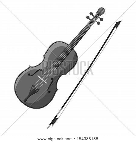 Violin icon. Gray monochrome illustration of violin vector icon for web