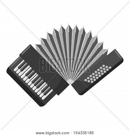 Accordion icon. Gray monochrome illustration of accordion vector icon for web